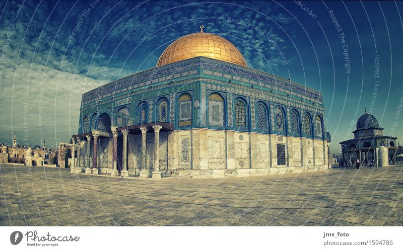 Dome of the Rock Panorama West Jerusalem Mosque Domed roof Tourist Attraction Landmark Dome of the rock Islam Belief Religion and faith Tourism Colour photo