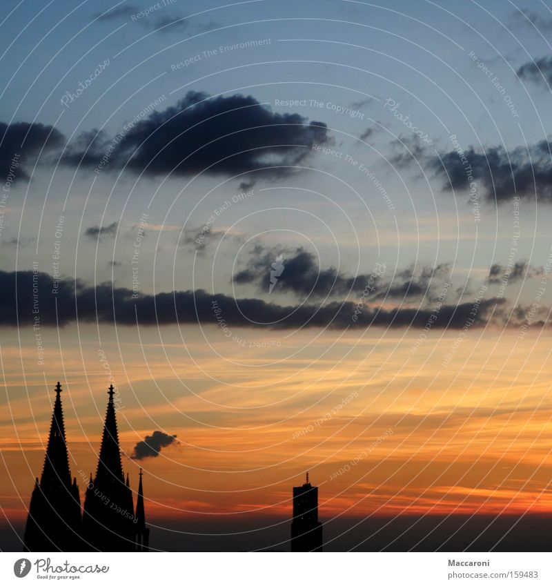 feelings of home Town Dome Flexible Cologne Cologne Cathedral Sunset Home country House of worship rhineland Kölsch Colour photo Exterior shot Deserted