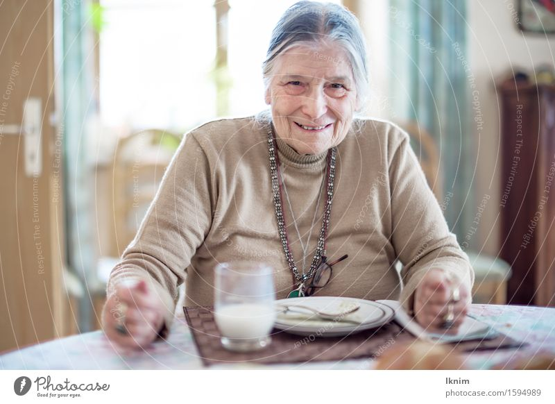 contented senior has eaten up Lunch Eating finish eating Meal Nutrition Feminine Grandmother 1 Human being 60 years and older Senior citizen Old Happy Delicious