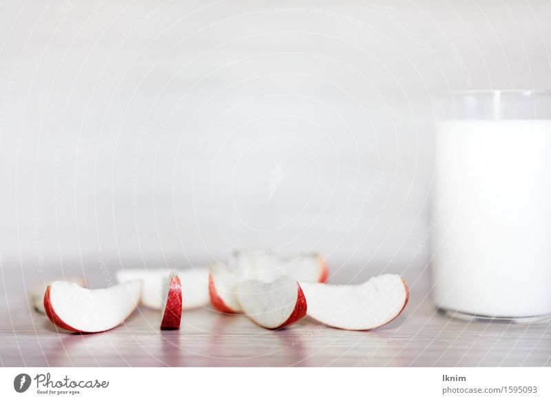 healthy breakfast, low in calories Dairy Products Apple apple pieces Part Frosted glass Milk Breakfast Diet Healthy Healthy Eating start into the day Nutrition