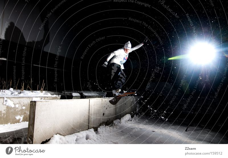Snow Style Jump Action Posture Snowboard Winter sports Freestyle Funsport Night shot Snowboarding Slide Snowboarder Boardslide
