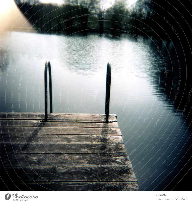 The day before yesterday at the lake Lake Relaxation Refrigeration Vacation & Travel Swimming & Bathing Holga Roll film Analog Summer Footbridge Joy 6x6