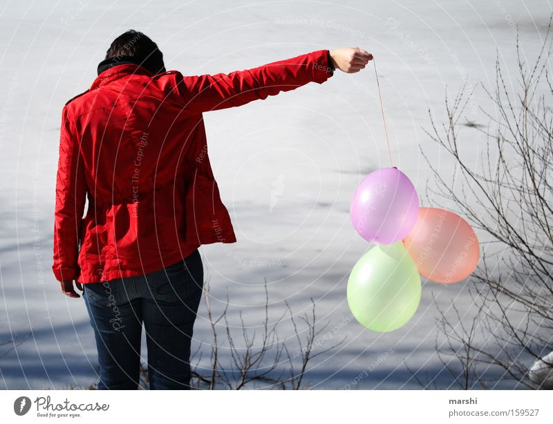 parted Balloon Water Lake Woman Goodbye Far-off places Grief Red Calm Loneliness Multicoloured Nature Transience Distress Coast