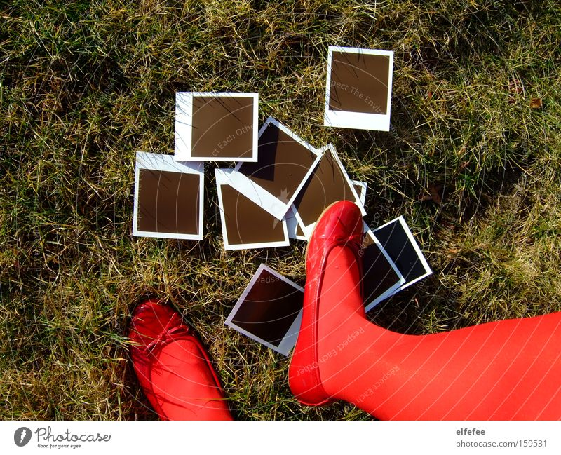 an end to old times. Polaroid Red Legs Feet Ballet Footwear Grass Lawn Garden Photography End Tread Green Leisure and hobbies Ballerina
