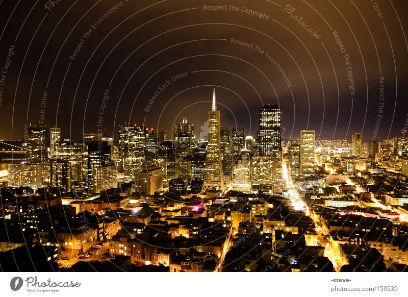 San Francisco @ Night Town Skyline Gold California Americas USA Transamerica pyramid Sea of light Fire Illuminate High-rise Burn