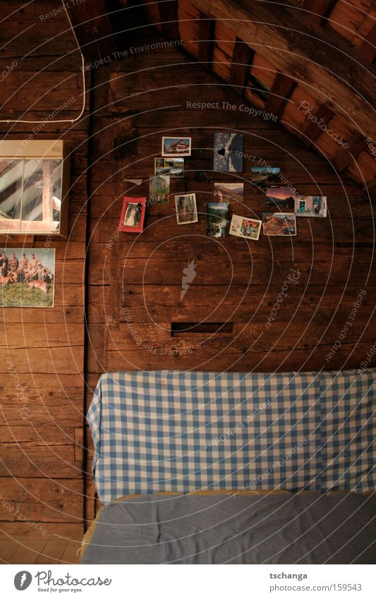 Schwyz Alm Wood Card Checkered Roof Attic Wooden wall Deserted Interior shot Section of image Detail Mattress Bedclothes Pitch of the roof