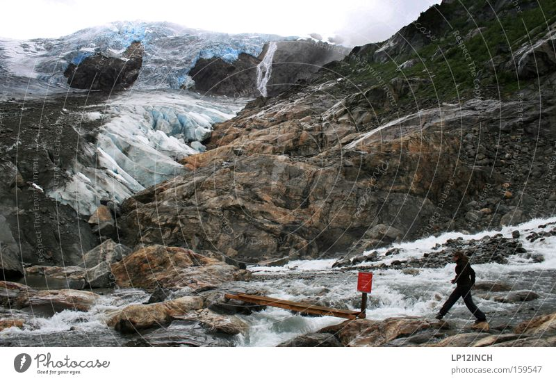 by leaps and bounds Glacier Ice Woman Jump Blue Norway Hiking Vacation & Travel Stone Mountain Water Threat Snow Red Signs and labeling Footpath Cold