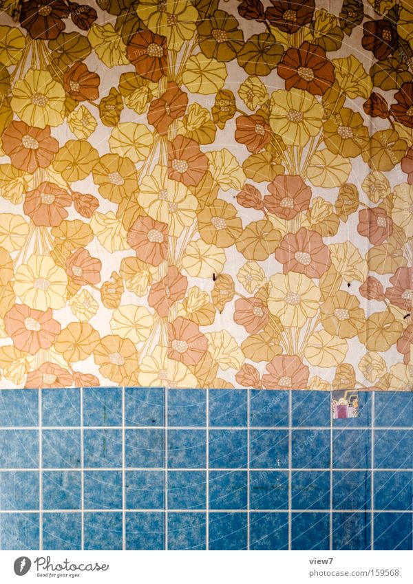 sea of flowers Wallpaper Fashioned Pattern Wall (building) Background picture Wallpaper pattern Seventies The eighties GDR Decoration Decline Paper Track Detail