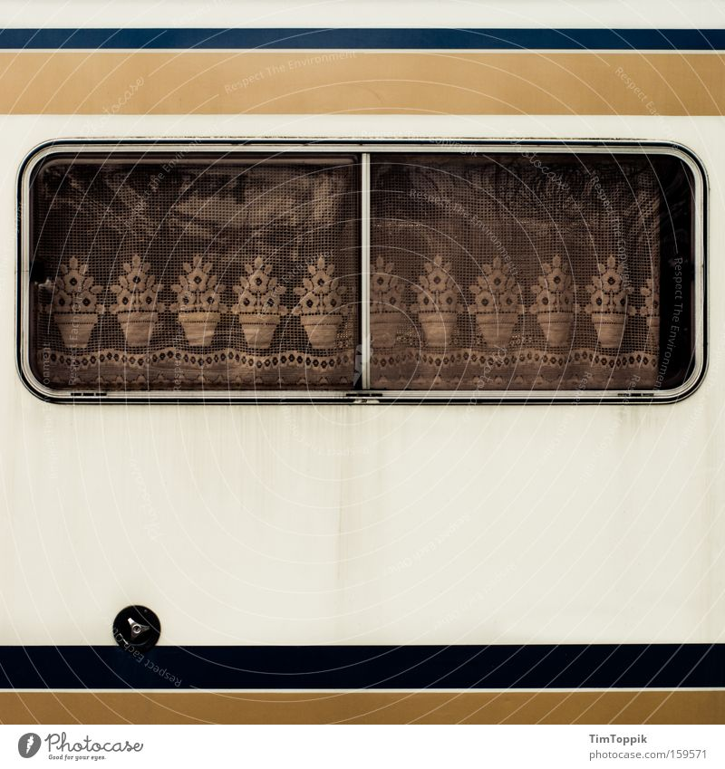 Vacation & Travel Window Living or residing Mobility Camping Drape Cozy Curtain Lace German Mobile home Caravan Petit bourgeois Camping site Retreat