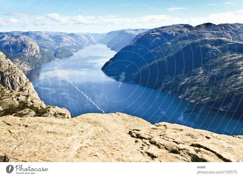 View from Preikestolen Fjord Lysefjord Ocean Norway Scandinavia Calm Mountain Loneliness Blue Coast Slope Rock Gravel Water Free Freedom Clouds Sky Nature