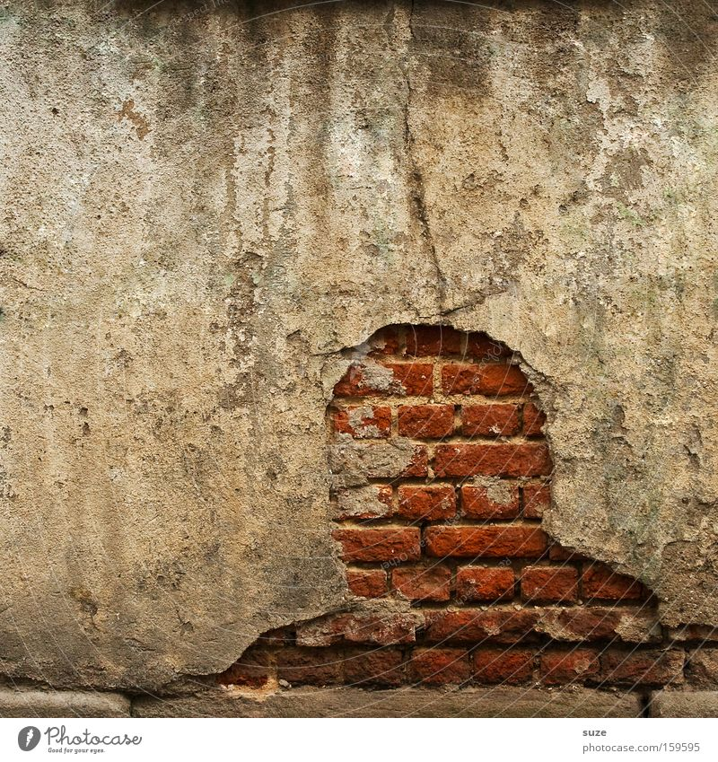 *200* Anonymous Masculine Head Wall (barrier) Wall (building) Concrete Brick Exceptional Broken Gloomy Dry Red Decline Past Transience Plaster Derelict Fantasy