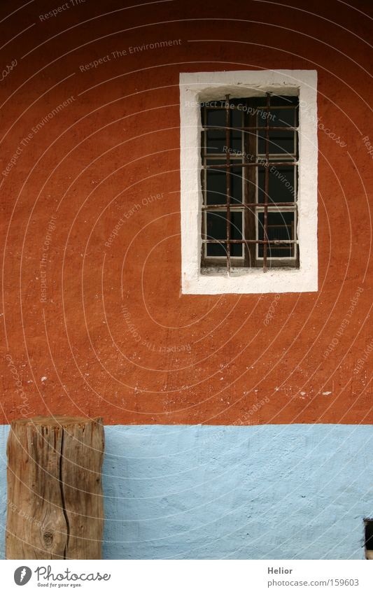 White Blue Red House (Residential Structure) Wall (building) Window Wood Safety Living or residing Agriculture Rust Frame Grating Rural Stability