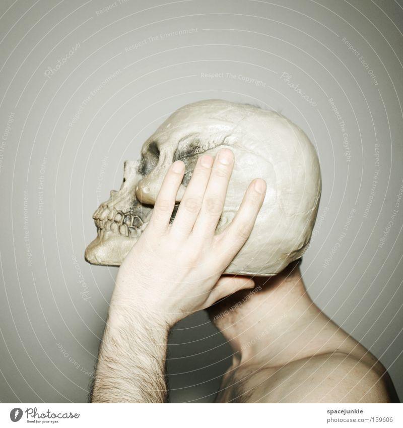 Looking at the corner Man Death's head Head Skeleton Headache Pain Creepy Joy