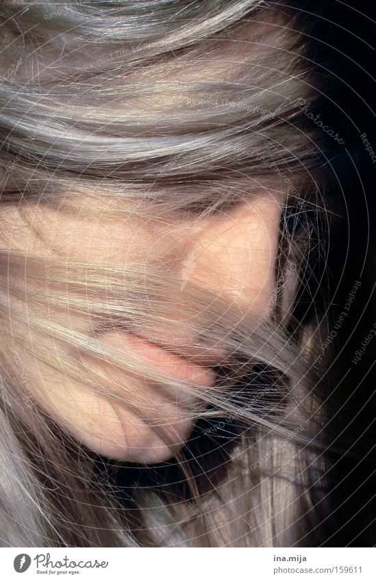 Youth (Young adults) Calm Emotions Hair and hairstyles Blonde Adults Protection Delicate Mysterious Hide Long-haired Timidity Shame Innocent Strand of hair