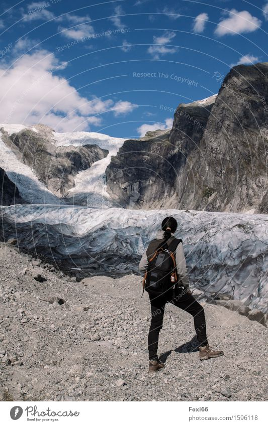 hiking in norway Landscape Earth Summer Climate Climate change Beautiful weather Ice Frost Mountain Glacier Glacier tongue Stone Sand Observe To enjoy Hiking