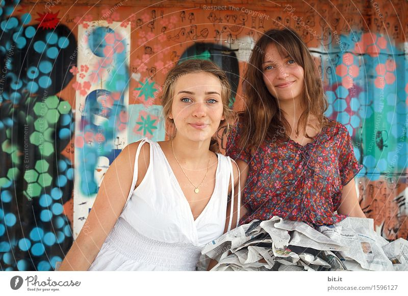 Human being Youth (Young adults) Beautiful Young woman Joy Graffiti Feminine Family & Relations Happy Friendship Contentment Joie de vivre (Vitality) Brothers and sisters