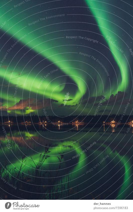 auroratracks.116 Nature Sky Clouds Night sky Horizon Autumn Aurora Borealis Bushes Lakeside Fjord Movement Exceptional Infinity Humble Mysterious Surrealism