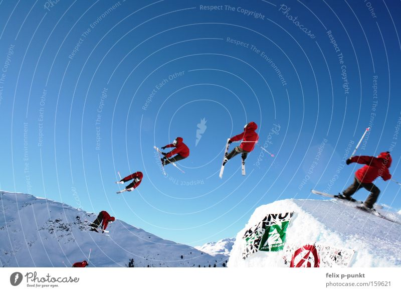 Human being Winter Mountain Snow Sports Rock Jump Masculine Leisure and hobbies Success Tall Beautiful weather Hill Austria Alps Snowcapped peak