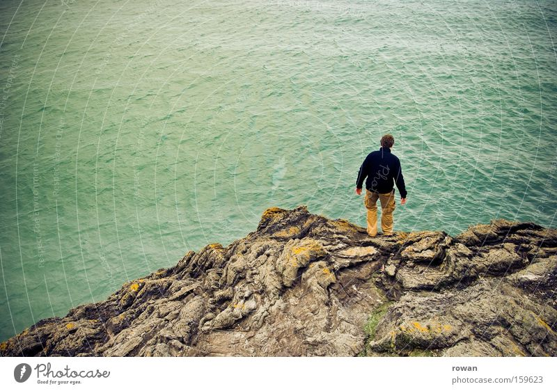 Human being Man Ocean Jump Coast Rock End Border Goodbye Cliff Suicide Intersection