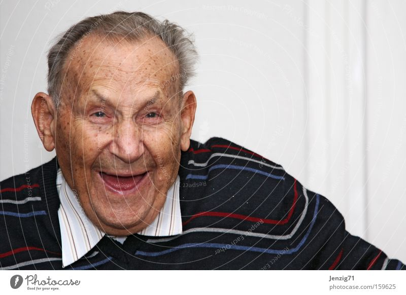 Laugh! Man Laughter Face Grandfather Old Joy Senior citizen Happy Care of the elderly