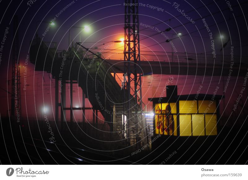 Rummelsburg Night Light Stairs Industrial Photography Industry Lantern Fog Haze Window Floodlight Architecture Steel Bridge Railroad crossing Street crossing