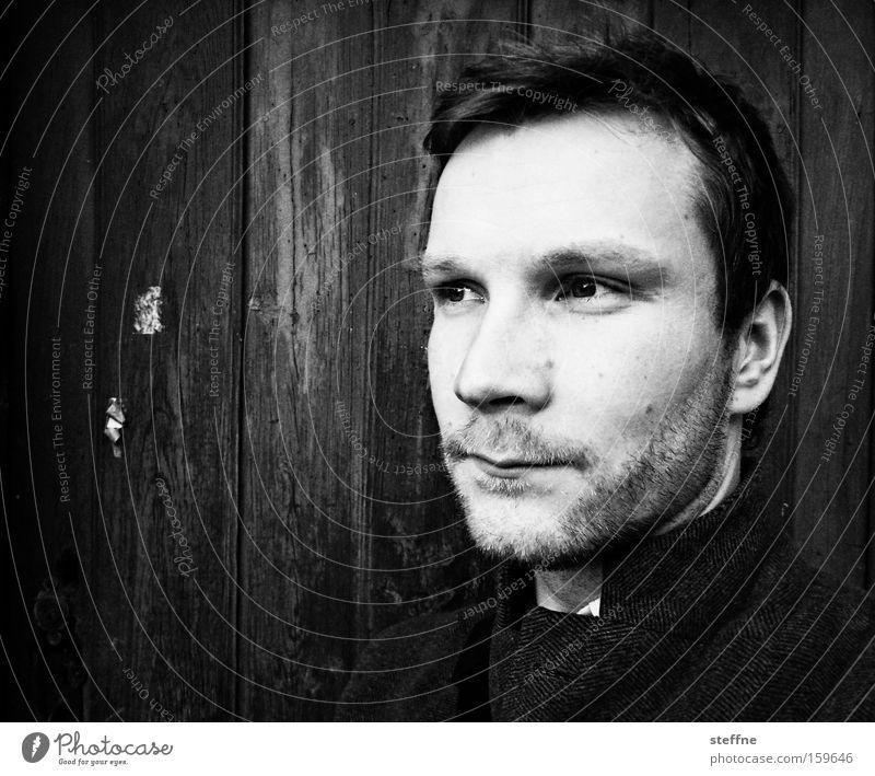 . Man Portrait photograph Face Wooden wall Think Earnest Pride Sublime Reliability Designer stubble Black White