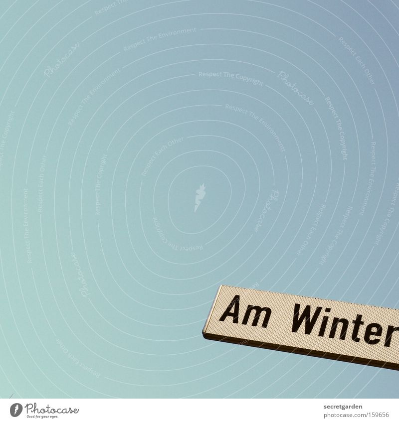Sky Blue Winter Street Cold Signs and labeling Pure Word Bremen Street sign
