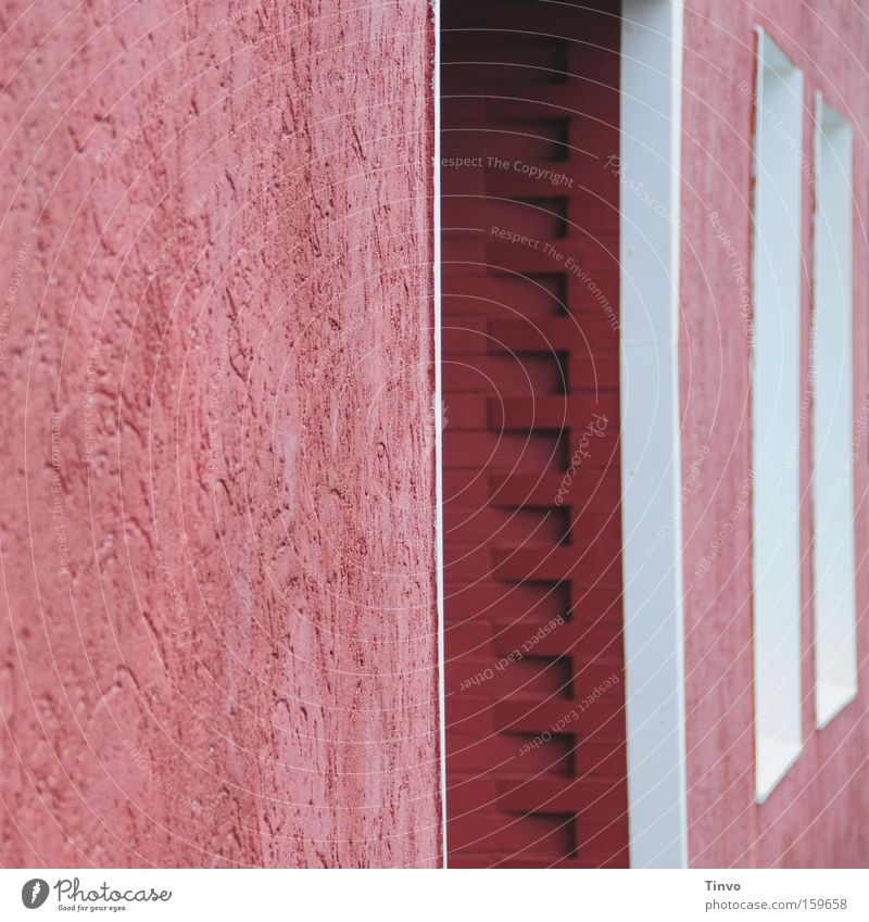 Pink House Wall (barrier) Structures and shapes Entrance Window frame Happiness Architecture House (Residential Structure) Detail roughcast Auburn