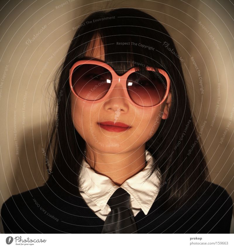 Anything else you want? Woman Portrait photograph Sunglasses Trashy Friendliness Beautiful Self-confident Pink Style Services Asia Rose glasses Fashion