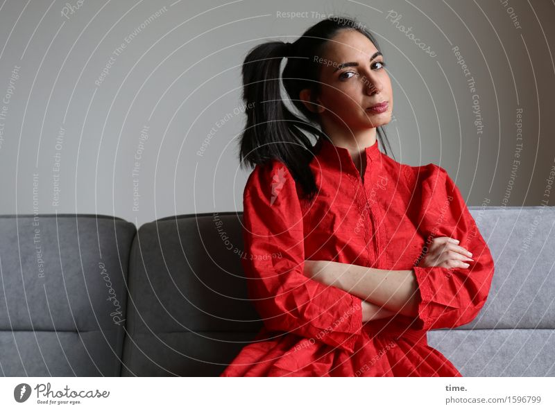 GizzyLovett Sofa Feminine 1 Human being Dress Black-haired Long-haired Observe Think To hold on Looking Wait Beautiful Self-confident Cool (slang) Power