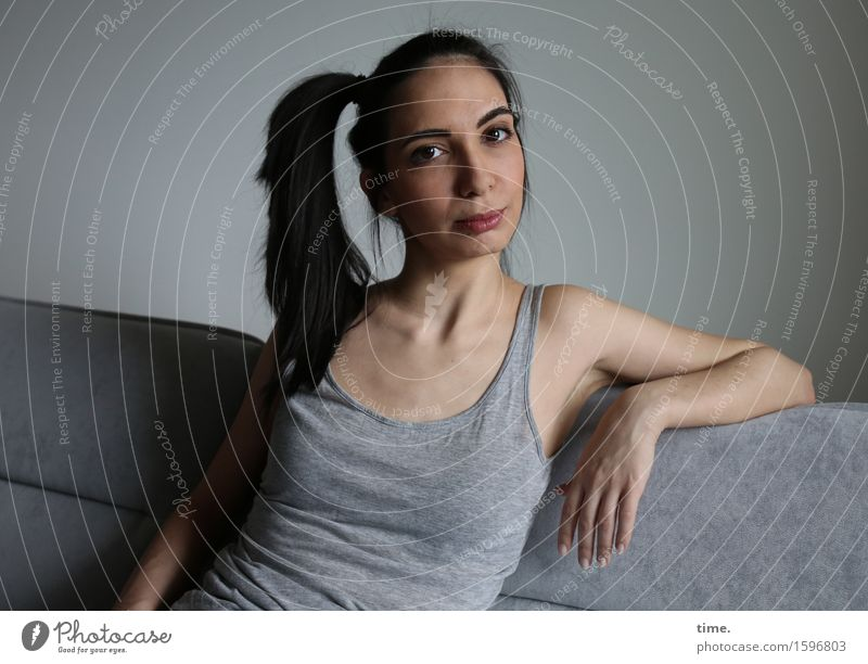 GizzyLovett Living or residing Furniture Sofa T-shirt Black-haired Long-haired Braids Observe Think Looking Wait Beautiful Feminine Emotions Moody