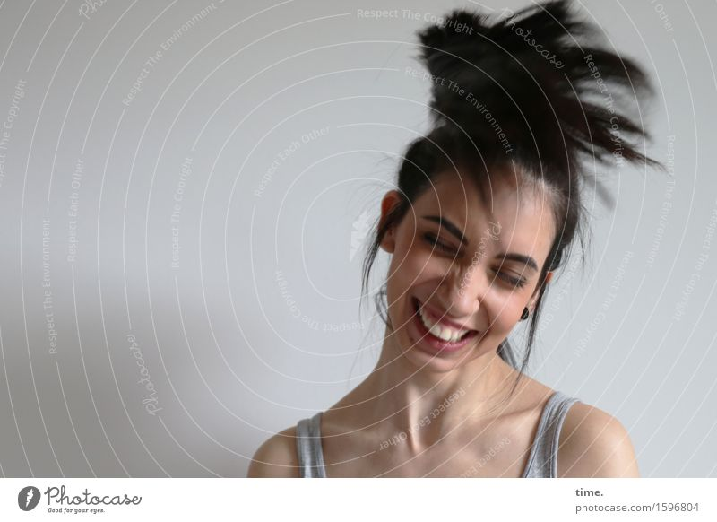 Human being Beautiful Relaxation Wall (building) Life Movement Feminine Wall (barrier) Laughter Happy Hair and hairstyles Happiness Creativity To enjoy Joie de vivre (Vitality) Change