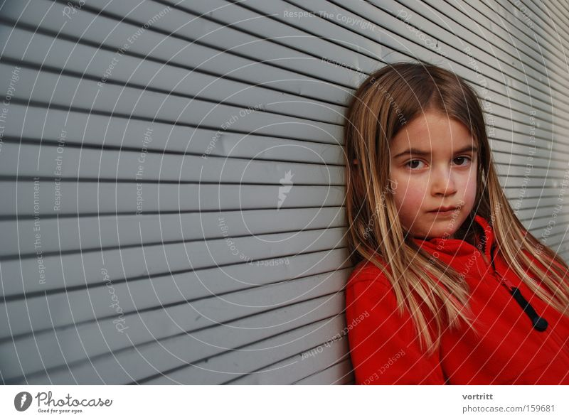 view Child Girl Youth (Young adults) Human being Looking Head Hair and hairstyles Perspective Boredom Red Portrait photograph Venetian blinds Techno Hippie
