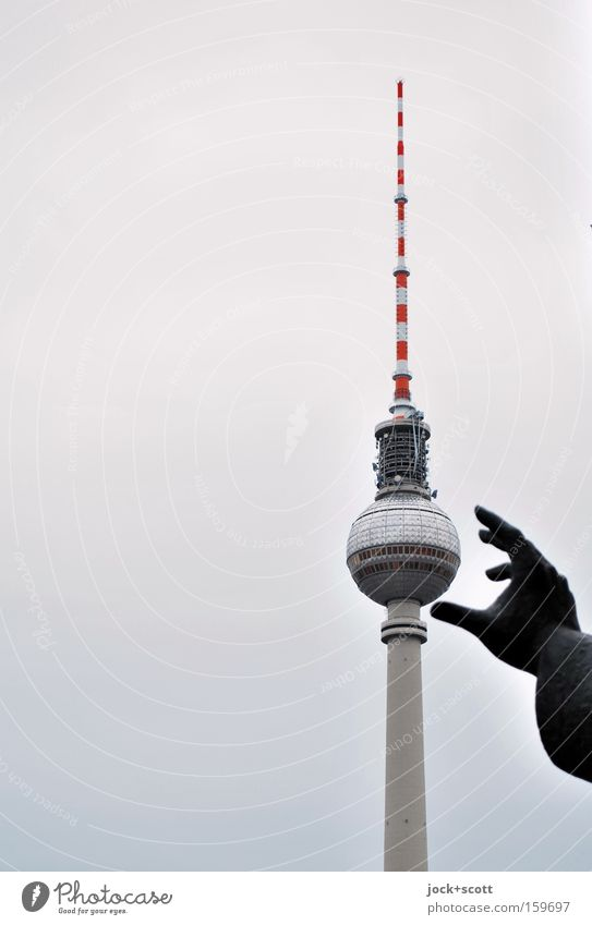 snatch Sightseeing Hand Downtown Berlin Capital city Tower Antenna Tourist Attraction Landmark Monument Berlin TV Tower Sphere To hold on Speed Blue Gray Black