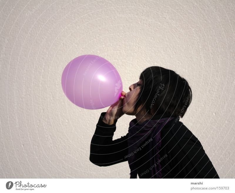 blowjob Balloon Air Breath Blow Pink Joy Feasts & Celebrations Birthday Woman Rubber