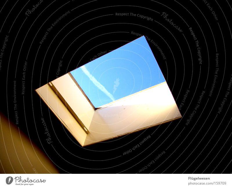 A piece of heaven Sky Wind Skylight Skyline Clouds Vapor trail Window Vantage point Hatch Free Freedom