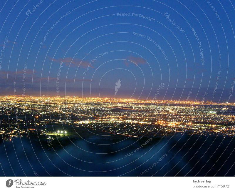 Twilight over Cape Town Night Sea of light Moral Light postcard idyll Dusk Aerial photograph City light Large