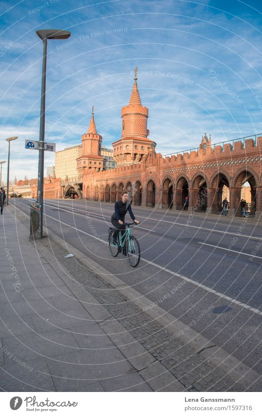 Oberbaumbrücken bicycle ride Cycling Tourism Sightseeing City trip Bicycle Human being Feminine Young woman Youth (Young adults) Woman Adults 1 30 - 45 years