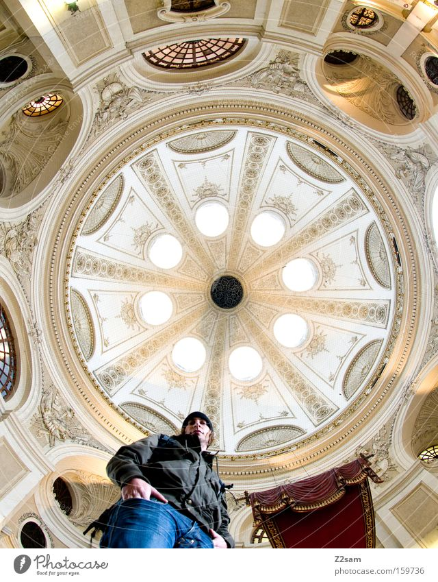 round about Round Domed roof Light Worm's-eye view Man Human being Looking Easygoing Center point Old Architecture baroque Long exposure lanzeit exposure