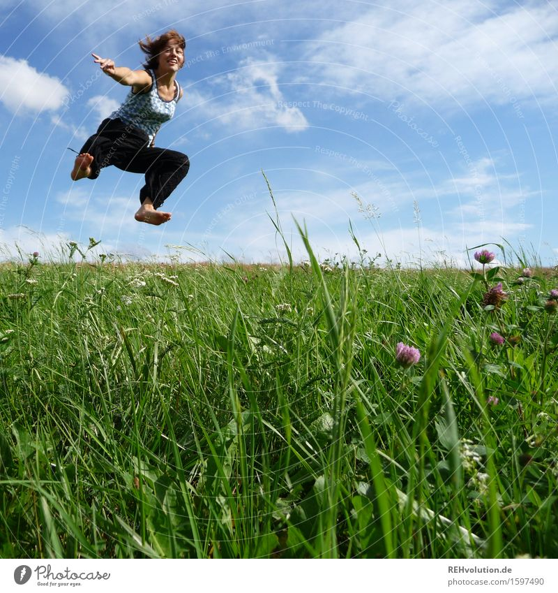 jump Human being Feminine Young woman Youth (Young adults) 1 13 - 18 years 18 - 30 years Adults Nature Landscape Sky Clouds Meadow Movement Jump Free Happiness