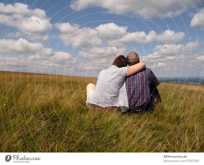 Human being Woman Sky Nature Man Relaxation Landscape Clouds Adults Environment Love Senior citizen Meadow Feminine Happy Couple