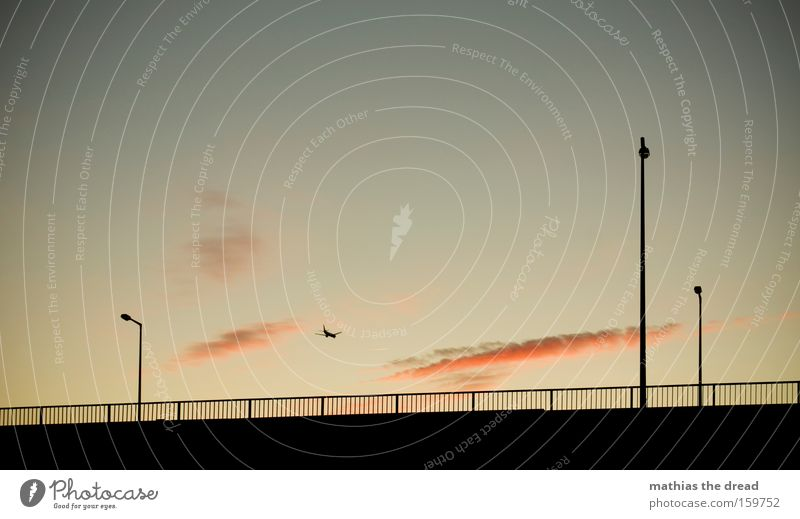 up and away Sky Twilight Sunset Beautiful Esthetic Idyll Nature Lantern Fence Silhouette Black Clouds Pink Airplane Vacation & Travel Joy Aviation