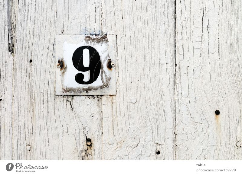 No.9 Digits and numbers House number Door Entrance Signs and labeling Signage Wooden door Old Weathered Metalware White Black Craft (trade) Detail enamelled
