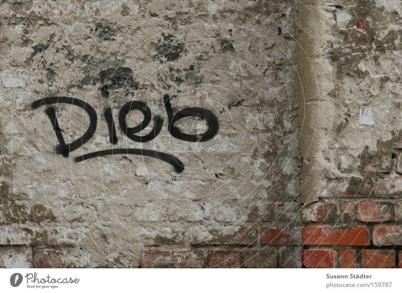 HOLD THE.......................................... Purloin Wall (building) Painting and drawing (object) Painting (action, work) Spray Dirty Plaster Brick Old
