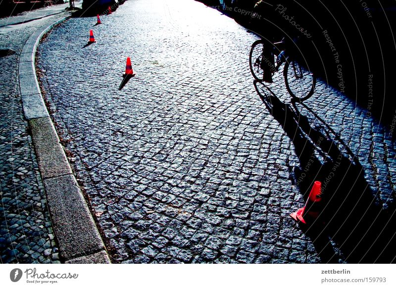 Sun Street Bicycle Transport Traffic infrastructure Cobblestones Barrier Road traffic Curbside Traffic cone Conical Skittle Cat's head Red-light district