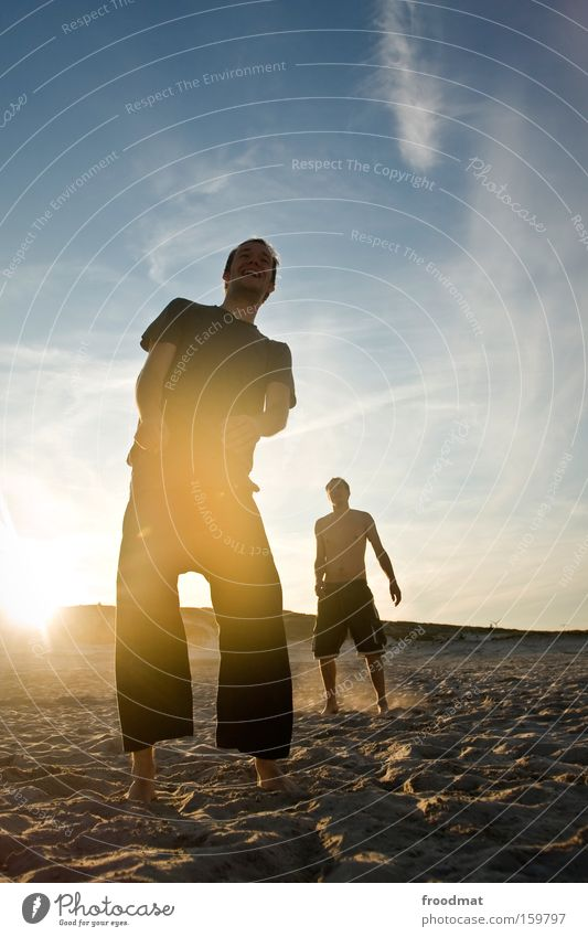 Man Youth (Young adults) Sun Summer Joy Beach Warmth Laughter Sand Wait Cool (slang) Silhouette Barefoot Volleyball (sport)