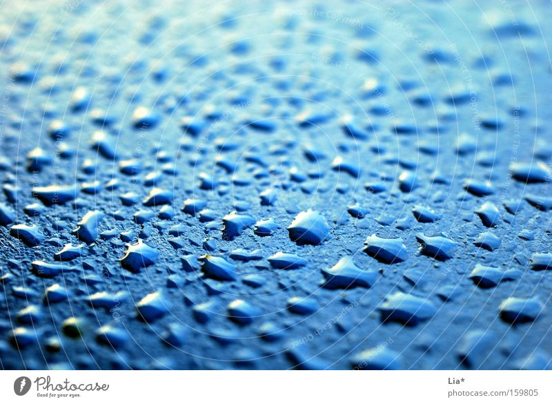 Water Blue Rain Metal Drops of water Wet Fresh Fluid Depth of field Surface Gaudy