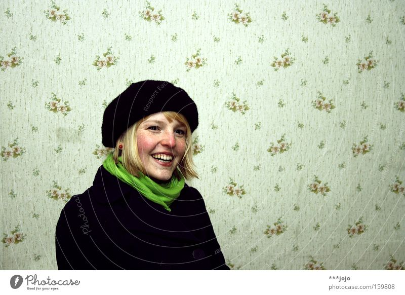 a.n.n.a. [weimar 09] Woman Blonde Cap Black Green Beautiful Wallpaper Laughter Friendliness Congenial Freckles Nature Authentic Coat Youth (Young adults)