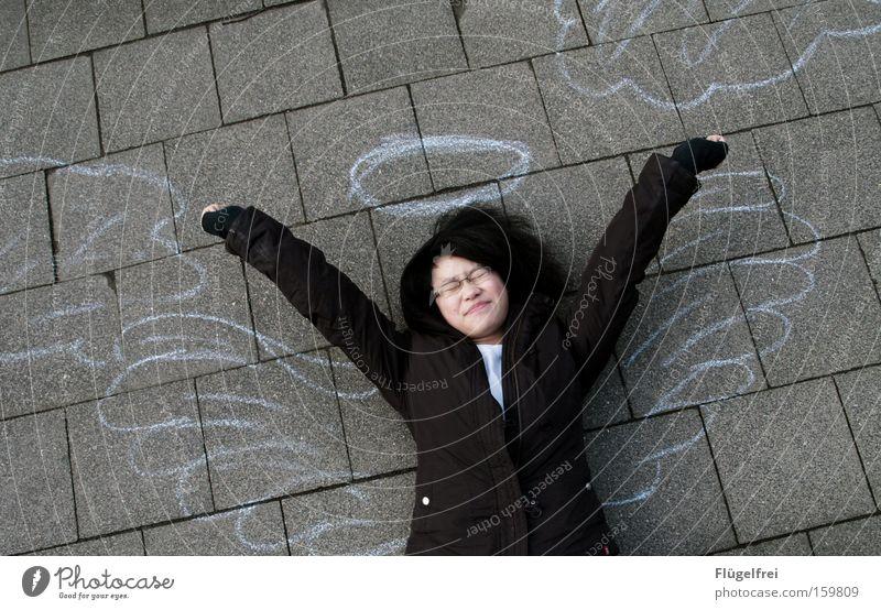 First stretch Hand Art Culture Clouds Wing Stone Angel Lie Fatigue Halo Yawn Ground street chalk Shadow Bird's-eye view