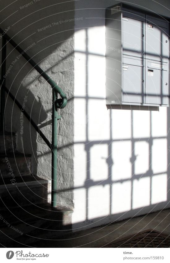 Blue Window Stairs Communicate Newspaper Mail Hallway Handrail Magazine Staircase (Hallway) Mailbox Tin Shaft of light Interject